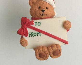 Christmas ornament, Vintage ornament , miniature teddy Bear Ornament , porcelain Bear Ornament , Vintage small bear ornament