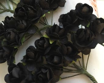 36 tiny Black paper flowers,  Paper flower,tiny black flower, craft wedding roses,black roses decor craft events,baptism,weddings