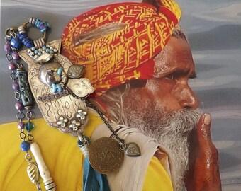 Collier talisman argent et bleu main khamsa, Sautoir boho tribal de style Indien, Bijoux nomades Hindou, Style bohème, Os, cuir, Fujigirls