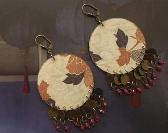 Boucles d'oreilles Japonaises - boucles d'oreille nippone - motifs floraux japonisant - style vintage asiatique - boucles d'oreilles XL zen