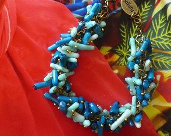Bracelet boho hippie chic - bijoux de plage - été - bleu lagon - nature - minéral - végétal - Ibiza - style bohème - Fujigirls