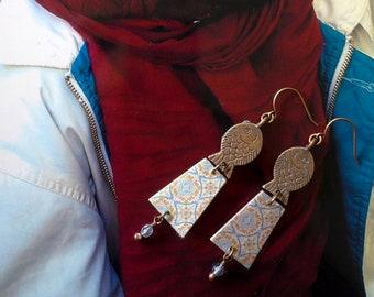 Boucles d'Oreilles Orientales Zellige, Bijoux Nomade Tuile Céramique Arabe, Bijoux de Créateur, Fujigirls