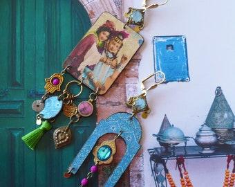 Boucles asymétriques de style Oriental, Bijoux Nomades dissociés, Pendentif artisanal, Création unique, Maroc, Fujigirls