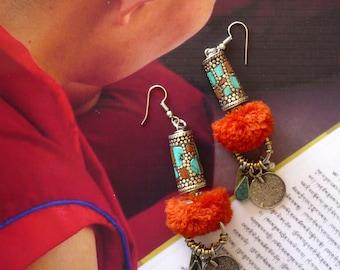 Boucles d'oreilles tribales de Style Mongol, Boucles d'Oreilles Mongolie, Tribal Asiatique, Perles Tibétaines, Turquoise, Bouddhisme, Yoga