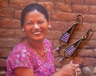 Boucles d'oreilles ethniques en Cuivre, Bijoux nomades, Pendentifs artisanaux, Perles miyuki, Violet, Fujigirls
