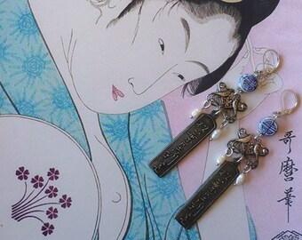 Boucles d'Oreilles Ethniques Japonaises, Pendentifs Calligraphie, Bijoux Nippons, Les inséparables, Porcelaine Bleu de Chine, Fujigirls