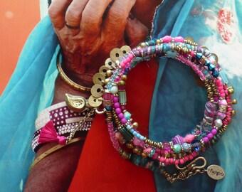 Collier de Perles Hippie Chic, Long Sautoir Bohème Gipsy, Bijoux Ethniques De style Hindou, Tribal Indien, Nomade, Folklorique, Fujigirls