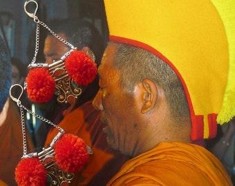 Boucles d'Oreille Ethniques de Style Mongol, Bijoux Nomades Mongolie, Ethniques Asiatique, Tibétain, corail, turquoise, Népal, Fujigirls