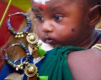 Creoles Gipsy Banjara, Cerceaux Tribal Indien, Bijoux Nomades Hindoue, Anneaux ethniques, Breloques kuchi, Fujigirls