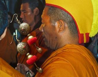 Boucles d'oreilles nomades d'inspiration Mongole, Bijoux ethniques asiatiques, Perles tribales népalaises, Style Tibétain, Mongolie, Mongol
