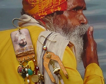 Boucles d'oreilles ethniques Indiennes, bijoux asymétriques hindou, bohème hippie chic, portrait de maharaja, pendentif artisanal, Inde