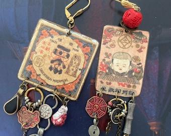 Boucles d'oreilles ethniques Japonaises, bijoux vintage Nippon, look rustique tribal Asiatique, Style Japonisant, asymétrique, Fujigirls