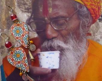 Boucles d'Oreilles Ethniques Indiennes, Bijoux Boho Hippie Chic, Tribal Hindou Folklorique, Bijou de Créateur, Fujigirls