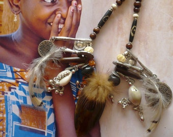 Bijoux Ethniques Style Néo Tribal, Collier Tribal Primitif Grigri, Style Nomade, Talisman, Protection, Plumes, Corne, Os, Fujigirls