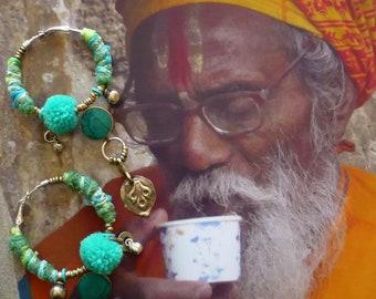 Créoles argentées Ethniques Indienne, Boucles d'oreilles anneaux Hindou, Bijoux Inde, Style Nomade, Gypsy, Hippie, Fujigirls