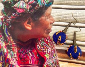 Boucles d'oreilles textiles légères et colorées, Bijoux nomades folkloriques, boho hippie chic, Frida Kahlo, style Mexicain, Fujigirls