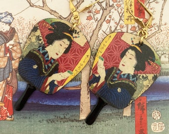 Boucles d'oreilles Japonaises en cuivre, Pendentifs Geisha fait-main, Look ancien, Bijoux asiatique, Japon, Nippon, éventail, zen, Fujigirls