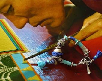 Bracelet mala ethnique Tibetain, perles tribales artisanales Népal, bijoux nomades, style asiatique, perles Inde, talisman, Fujigirls