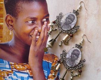 Boucles d'oreilles tribales Africaines, Bijoux ethniques Afro bohème, Pendentif artisanal, style nomade, portrait d'afrique, Fujigirls