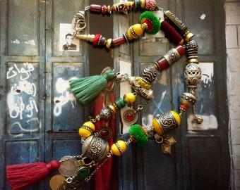 Collier tribal oriental -  Bohème éclectique - nomade Marocain - berbere maroc - vintage - afghan - africain - bijoux du désert - Bédouin