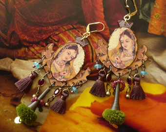 Miniature Mughal Tribal Earrings, Hindu Ethnic Style Jewelry, Craft Pendant, Vintage India, Nomad, Fujigirls