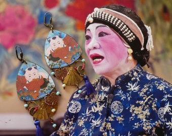 Boucles d'oreilles chinoises de style vintage, Pendentif artisanal enfant asiatique , carpe koï, bijoux asie, Eventail, Fujigirls