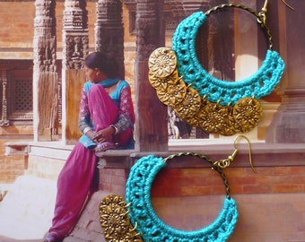 Boucles d'Oreilles Créoles Indiennes, Créoles textiles Hindoue, Style Bohème Hippie Chic, Gypsy, Sequins, Fujigirls