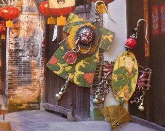 Boucles d'Oreilles Bohèmes Asiatique - Boucles d'Oreille rustique Chinoise - Pendentif Kimono - Bijoux Asymétriques - Chine Antique - Zen