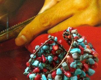 Bracelet Tibétain - Manchette Nomade - Bracelet Tribal Turquoise et Corail - Népal - Bracelet Tissé de Perles - Bijoux Ethniques - Fujigirls