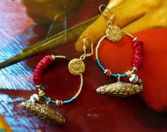 Boucles d'Oreilles de Style Mongol, Créoles Ethniques Asiatiques, Pendentifs de Mongolie, Perles Tibétaine, Nomade, Népal, Fujigirls