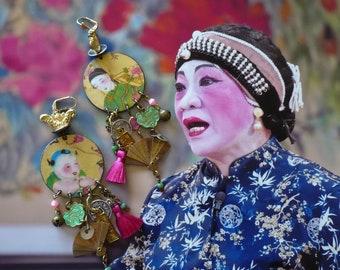 Boucles d'oreilles chinoises de style ethniques, bijoux bohèmes asiatiques, vintage Chinois, Pendentifs Fait-main, asymetrique, Fujigirls