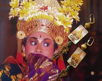 Boucles d'Oreilles Ethniques Indonésiennes - Bijoux Exotiques Bohèmes Hippie Chic - Longues Boucles d'oreilles Balinaises - Bijoux Fujigirls
