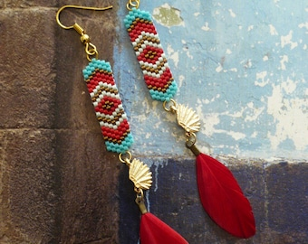 Boucles d'oreilles amérindiennes - tribal native american - navajo - coiffe indienne - plumes - turquoise - country - southwestern - native