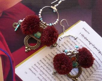 Créoles nomades d'inspiration Mongole, Bijoux ethniques asiatiques, Perles tribales népalaises, Style Tibétain, Mongolie, Corail, Turquoise