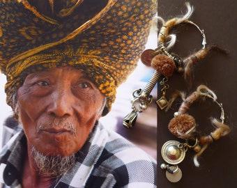 Créoles Tribales Argentées de Style Gipsy, Boucles d'Oreilles Anneaux Nomades Kuchi, Bijoux Originaux de Créateur, Boho Hippie, Fujigirls