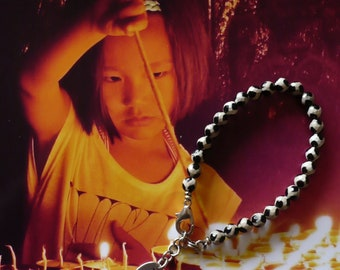 Bracelet ethnique unisexe Tibétain, Perles à facettes agates dzi, Bijoux méditation, mala yoga, style nomade, Prière, Bouddhisme, Fujigirls