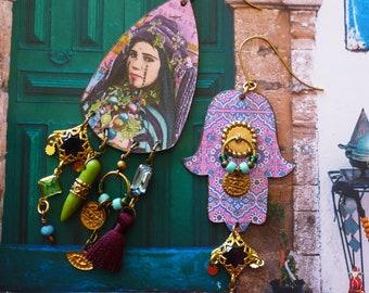 Boucles d'oreilles ethniques portrait oriental, Bijoux nomade berbère, pendentif artisanal cuivre, Amazigh, talisman hamsa, Maroc, Fujigirls