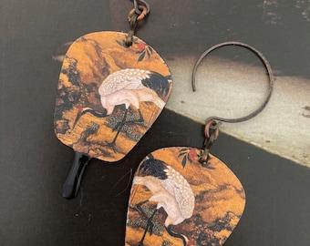 Boucles d'oreilles en cuivre grues japonaises, Pendentifs fait-main, Look vintage, Bijoux rustiques, style asiatique, éventail, Fujigirls