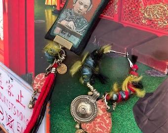 Boucles d'oreilles tribales asiatiques asymétriques, style vintage Chinois, look nomade, bijoux ethniques, chine antique, Fujigirls