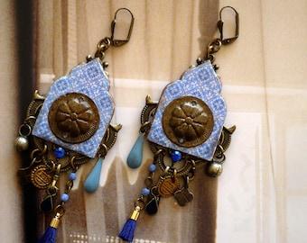 Boucles d'Oreilles Ethniques de Style Oriental, Bijoux Tuile Zellige Marocaine, Pendentifs polymère, Pompons, Fujigirls