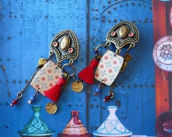 Boucles d'oreilles Clips de Style Gipsy, Bijoux Ethniques pour Oreilles Non Percées, Hippie Chic, Fujigirls