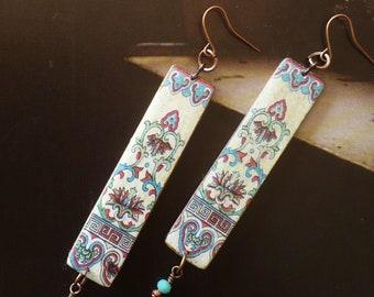 Longues boucles d'oreilles en cuivre aux motifs ethniques asiatiques, pendentifs artisanaux, bijoux créateur, chine antique, Asie, Fujigirls