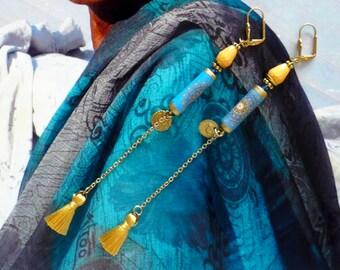 Longues Boucles d'Oreilles Pendantes de Style Ethnique, Boucles d'Oreilles Pompons, Bijoux Nomades, Fujigirls