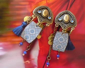 Boucles d'Oreilles Clips pour Oreilles non percées, Bijoux Ethniques Oriental Zellige, Style Marocain, Amazigh, Fujigirls
