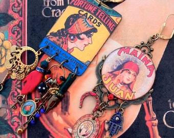 Boucles d'oreilles bohèmes gipsy diseuse de bonne Aventure, Bijoux asymétriques de style Mystique, Esprit roulotte, Gitane, Voyance, Occulte