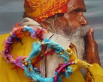 Parure 3 bracelets Ethniques Indien à superposer, Joncs à empiler en soie de saris indiens recyclés, style vagabond, nomade, boho hippie
