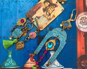 Boucles d'oreilles ethniques de style Oriental, Bijoux Nomades du désert, Création Artisanale, Unique, Ouled-Nails, Fujigirls
