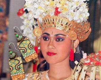 Boucles d'oreilles en cuivre bohèmes hippie chic, ethniques d'esprit asiatique, pendentifs fait-main, perles aux chalumeau, strass, argent