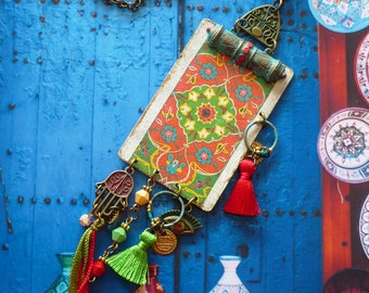 Collier sautoir nomade d'inspiration Orientale, Bijoux Ethniques Originaux, Tribal Gipsy, Motifs Arabesque, Islamique, Fujigirls