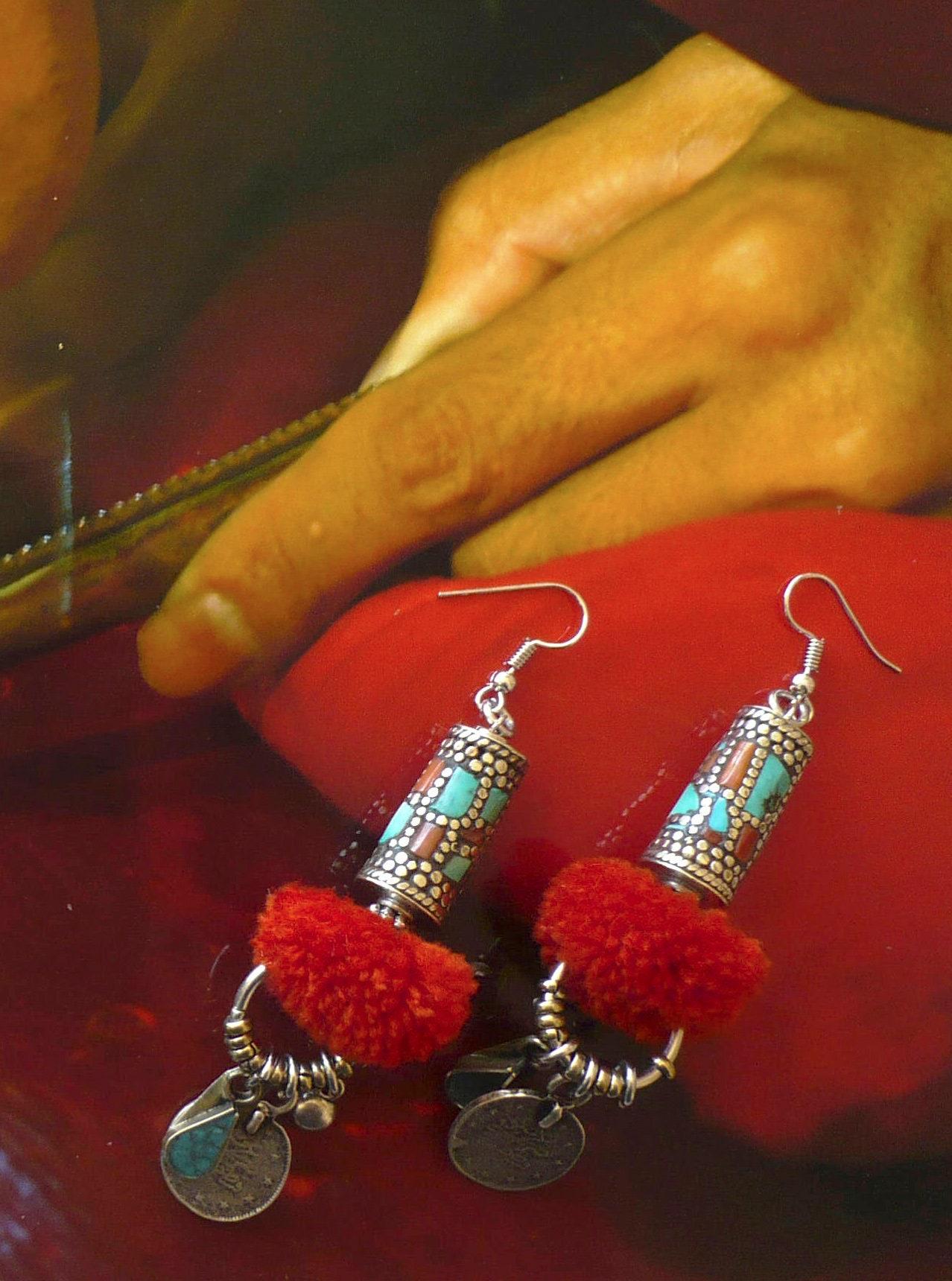 These Mongol tribal earrings - earrings Mongolia - Tribal